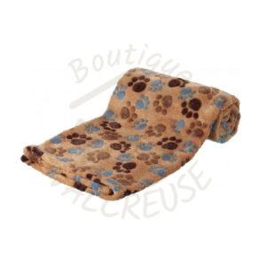 TRX plaid Laslo polaire marron motif pattes 75x50cm Valcreuse boutique