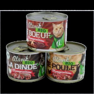Atavik pâtées monoprotéines bio pour chat
